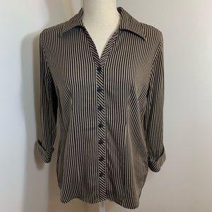 Dressbarn Black&Brown Stripe Button Down Size M